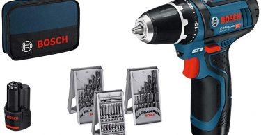 Bosch Professional GSR 12V-15 Perceuse sans fil avec 39 pièces Set d'accessoires, 2 batteries 2,0 AH, Chargeur de batterie avec pochette de rangement...